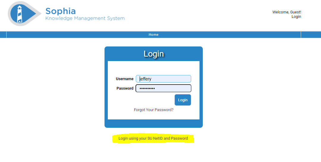 Image of Login Page for invention disclosure submission portal with the link to login using your SU NetID and Password highlighted.